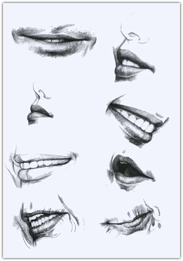 Как нарисовать улыбку карандашом поэтапно