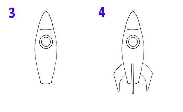 Как нарисовать ракету поэтапно