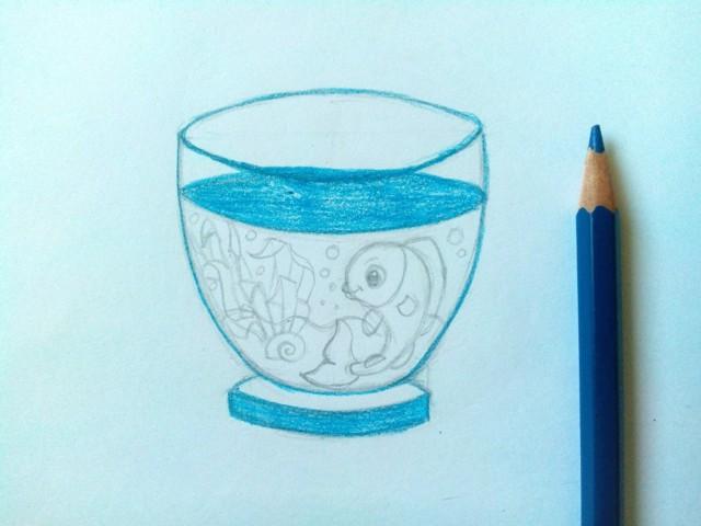 Курс рисования цветными карандашами. Рыбки в аквариуме