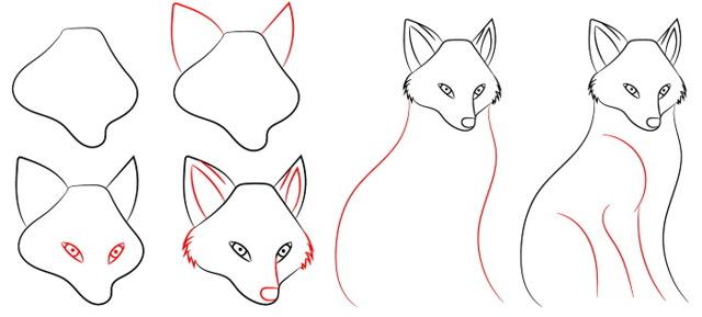 Как нарисовать лису: поэтапный урок 3 вариантов