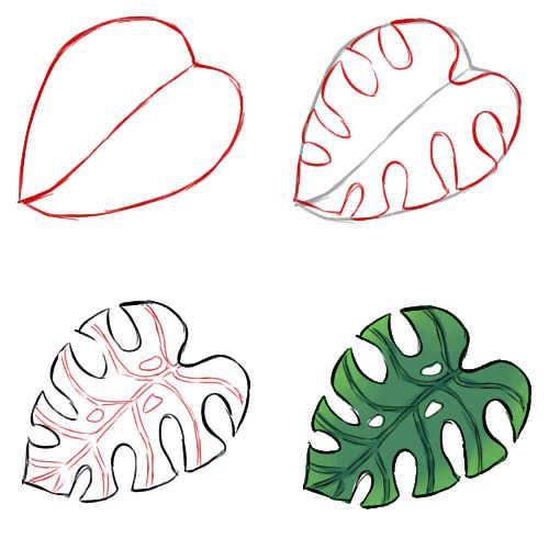 Как рисовать листья поэтапно
