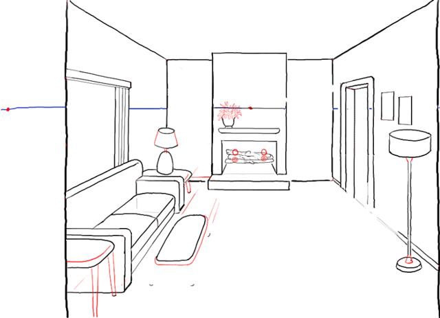 Рисуем комнату карандашом поэтапно